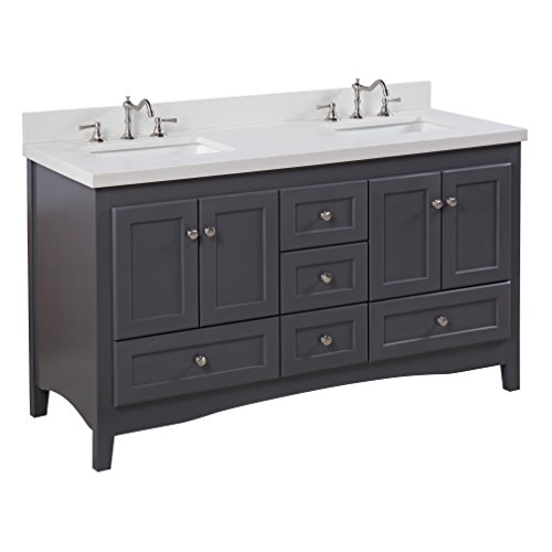 Abbey 60-inch Double Bathroom Vanity (Quartz/Charcoal Gray): Includes a Charcoal Gray Cabinet, Quartz Countertop, Soft Close Drawers and Doors, and Rectangular Ceramic Sinks