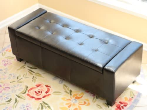Home Life Guernsey Black Leather Storage Ottoman