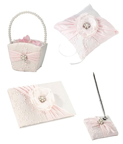 Lillian Rose Pink Blush Wedding SET - Guest Book, Sign in Pen Set, Ring Pillow, Flower Girl Basket, with Pearl and Rhinestone Accents (Girl Book Guest Pillow Basket)