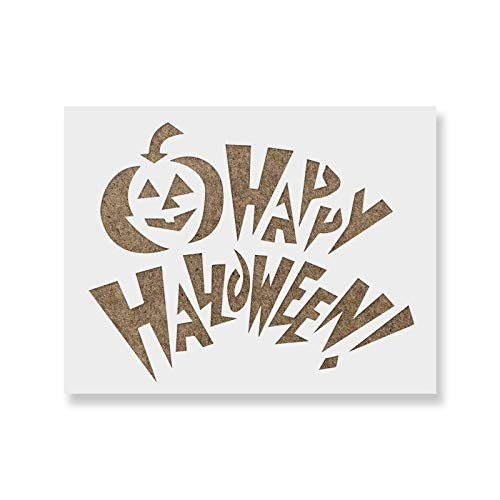 (Happy Halloween Pumpkin Stencil Template - Reusable Stencil with Multiple Sizes)