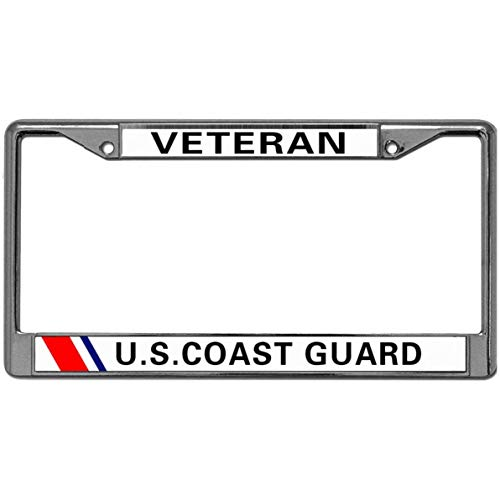 - US License Plate Frame Stainless License Plate Frame Silver Veteran U.S. Coast Guard License Plate Frame 2 Holes License US Standard