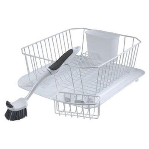Rubbermaid 4-Piece Dish Rack Sinkware Set, White (Small Rubbermaid Antimicrobial Dish)