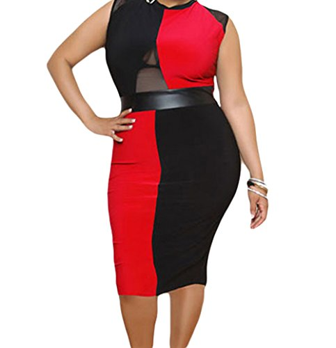 [FQHOME Womens Plus Size Black and Red Sleeveless Midi Dress Size 2XL] (Group Dressing Up Ideas)