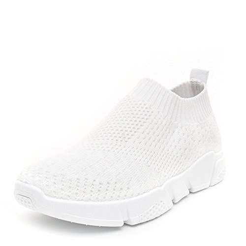White Mesh Sneakers - DRKA Women's Mesh Walking Shoe, Lightweight Casual Sneakers Breathable Training Shoes(17909-White-37)