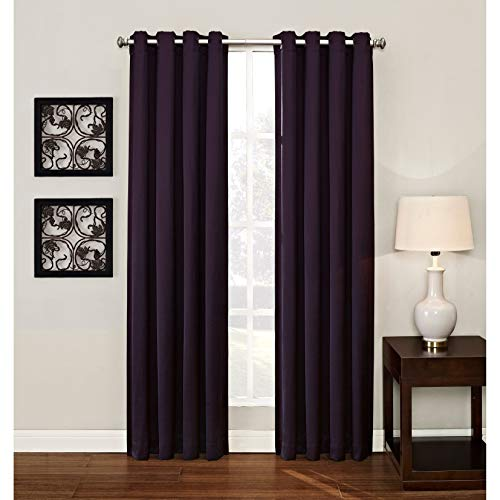 Overstock Ashton Grommet Room Darkening Window Curtain Panel Black 95 inches 95 Inches
