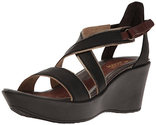 Naot Footwear Women's Gesture, Oily Coal Nubuck/Pewter Leather/Brown Haze Leather/Toffee Brown, 41 (US Women's 10) M (Leather Footwear Pewter)