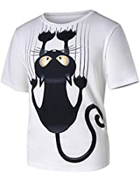 Nikuya Men Women Couple Models Cat Pattern Print Short-Sleeved T-Shirt Tops Blouse