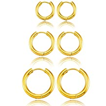 MOWOM Silver Gold Two Tone Black 3 Pairs Stainless Steel Hoop Huggie Earrings Set