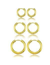 MOWOM Silver Gold Two Tone Black 3 Pairs Stainless Steel Hoop Huggie Earrings Set