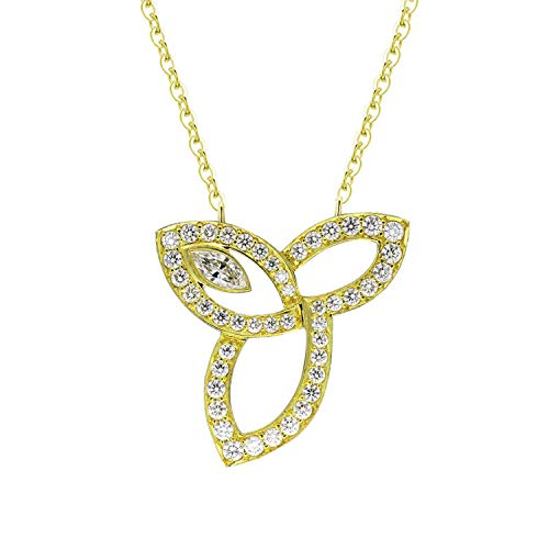 victoriasong Fashion Yellow Gold Color 925 Sterling Silver Lily Flower Pendant Necklace