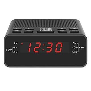 "Digital Alarm Clock Radio, Small Alarm Clocks for Bedrooms - AM/FM Radio, 0.6"" LED Digits Dimmerable Red Display, Easy Snooze, Sleep Timer, Battery Backup"