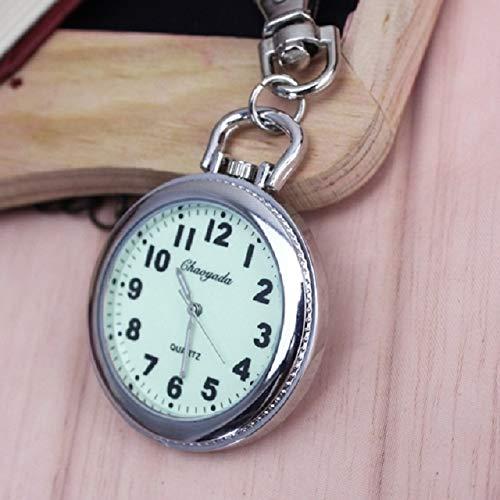 Retro Big dial Watch Students Luminous Elderly Keychain Pocket Watch Necklace Pendant Hanging exam Men Quartz Waterproof (Keychain Style