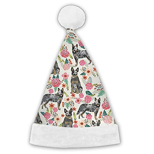 Australian Cattle Dog Florals Xmas Christmas Christmas Santa Hat Holiday Theme Hats 3D Graphic Printed Adults Children ()