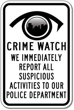 Watch Logo Round (Neighborhood Watch Round Logo Sign - 8x12 inch)