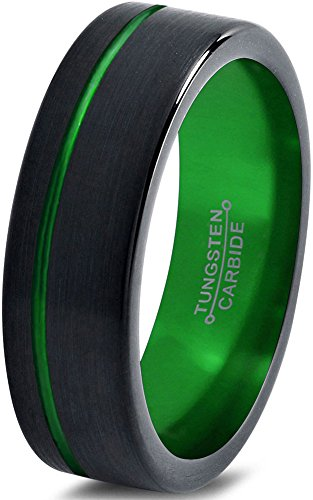Tungsten Wedding Band Ring 6mm for Men Women Green Black Pipe Cut Brushed Polished Offset Line Lifetime Guarantee