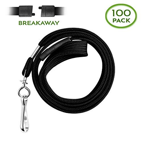 (Claev Flat Breakaway Safety Lanyard for ID Badges, Soft Woven Neck Line (Black, 100 Pack))