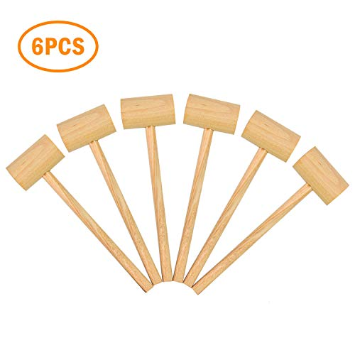 YoleShy 6PCS Crab Hammers, Hard Wooden Crab Mallets Lobster Hammer for Shellfish Seafood, 7.1 x 2 x 1.2inch (Natural Wood Color)