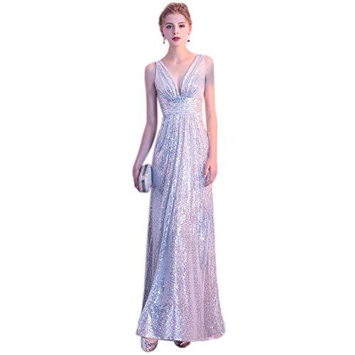 QJKai Banquet Evening Dress Feminine Long Silver deep V-Neck Sequin Dress Slim Slimming Party Cocktail Dress
