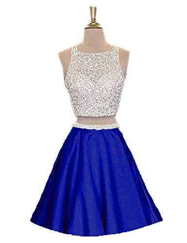 MonaBridal Women's Two Piece Beaded Homecoming Dress Short Prom Party Gowns Formal Evening Dresses Royal Blue 4 Two Piece Bridal Dress