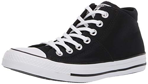 Converse Women's Chuck Taylor All Star Madison Mid Top Sneaker Black/White, 5 M - Black Top High Patent