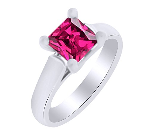 Princess Shape Simulated Ruby Solitaire Engagement Ring In 14K White Gold (0.50 cttw) Ring Size-13.5 by AFFY