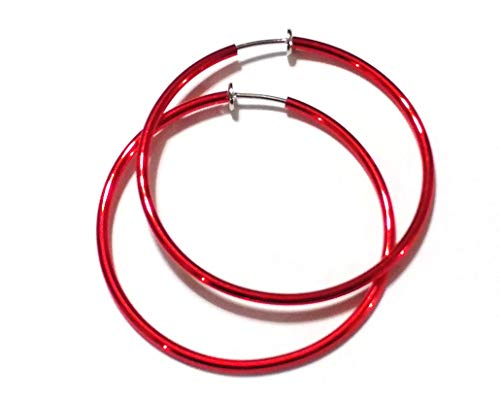Clip-on Earrings Red Hoop Earrings Simple Thin 2 inch Hoop