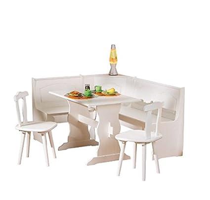 Juego de comedor de color blanco y madera de pino, incluye un banco ...