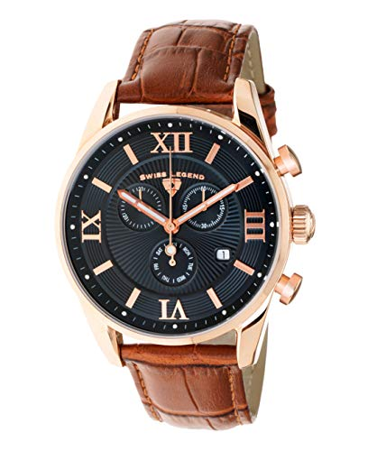 Swiss Legend Men's Belleza Analog Swiss Quartz Watch Black Dial and Rose Gold Stainless Steel Case with Brown Leather Strap - Swiss Rose Mens