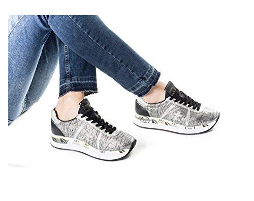 PREMIATA Zapatillas de Piel Para Mujer Plateado Plateado