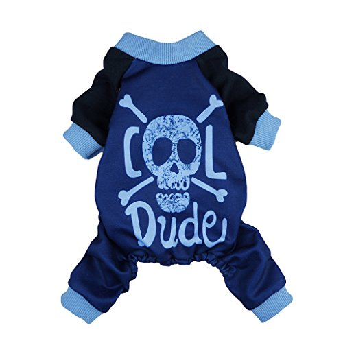 41s2FpyvteL - Fitwarm Cool Dude Skull Pet Clothes for Dog Shirts Jumpsuits Cat Pajamas PJS Blue