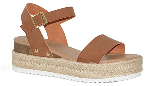 - MVE Shoes Women's Adjustable Ankle Strap -Summer Comfort Open Toe Espadrille - Cute Single Strap Platform, tan pu Size 10