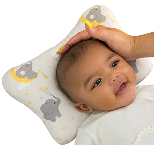 Baby Pillow With Elephant Pattern For Boys & Girls | Unisex Newborn Cushion Protection For Head & Neck Support | Breathable & Comfortable 3D Air Cotton Mesh | Infant Head Shaping Wedge | Perfect Gift