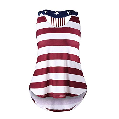 vermers Women Summer Star Vest Top Sleeveless Blouse Casual Tank Loose Tops T-Shirt(S, No Pocket - Multicolor) ()