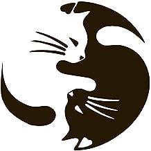 "SLEEPING YIN & YANG CAT PET LOVER vinyl Sticker Decal (4"" x 4"", Black)"