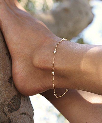 Cz Diamond Anklet, Delicate Gold Filled Anklet, Diamond Anklet Bracelet, station diamond anklet, Bridesmaids Gift, Bridesmaids Bracelet, Silver Anklet, Gold Anklet, Rose Gold Anklet