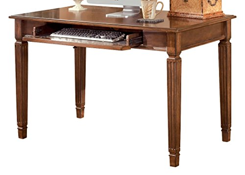 Ashley Furniture Signature Design - Hamlyn Small Home Office Desk - Drop-Down Keyboard Tray - Traditional - Medium Brown - Down Drop Drawers