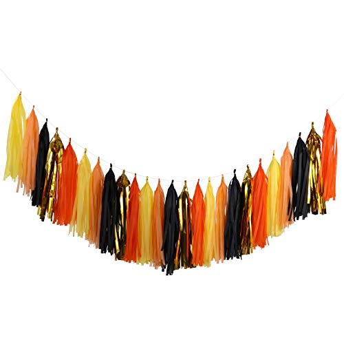 Fonder Mols Tissue Paper Tassel Garland DIY Kit Thanksgiving Fall Party Decorations Halloween Backdrop Autumn Harvest Birthday Party Supplies (Pack of 25pcs, Orange Yellow Gold Black) A21 -
