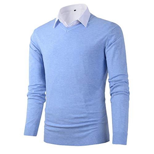 Benibos Mens Casual Slim Fit Basic Designed V-Neck Pullover Sweater (616 Light Blue,M)