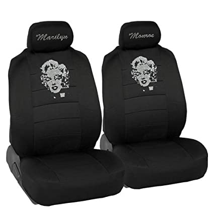 Marilyn Monroe Crystal Diamond Bling Rhinestone Black Car SUV Truck Low Back Seat Covers