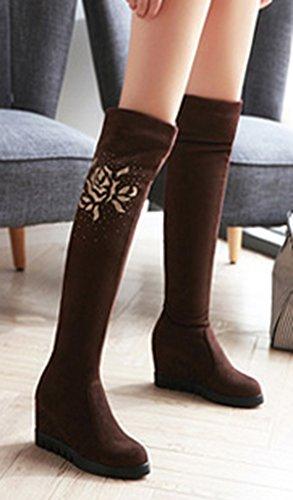 Aisun Dames Elegante Strass Ronde Neus Pull Op Platform Hoge Hakken Sleehak Over De Knie Hoge Laarzen Koffie