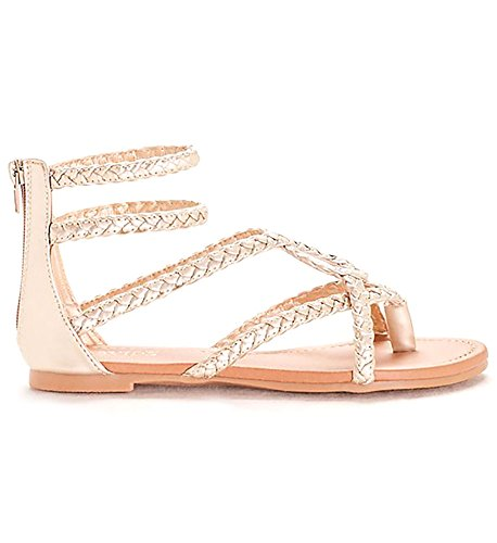 Women's Luxury Braided Double Ankle Strap Gladiator Sandal (10, (Double Strap Gladiator Sandal)