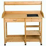 FDInspiration Wood Workbench Planting Table Potting Bench Garden Shelf Outdoor Storage w/Sink with Ebook