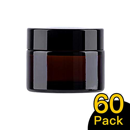 50ml / 1.75 oz 60 Pack Snow Diamond Empty Amber Round Glass Jars, with White Inner Liners and black Lids, High End Glass Containers for Salve Cream, Premium Vials (50ml / 1.7 oz, 60 Pack)
