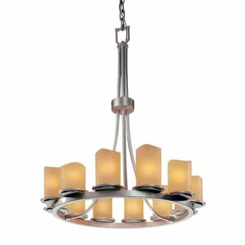 - Justice Design Group CandleAria 12-Light Chandelier - Brushed Nickel Finish with Amber Faux Candle Resin Shade