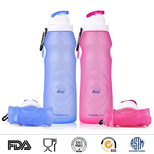 Baiji Bottle Collapsible Silicone Water Bottles - Sports Camping Canteen 20 Oz. - Easy To Clean And Store (Collapsible Water Bottles)