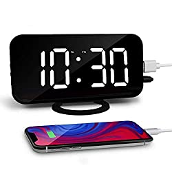 Amouhom LED Digital Alarm Clock with Dual USB Ports Contemporary Desk Clock with Automatic Dimming Brightness Modern Digital Clock