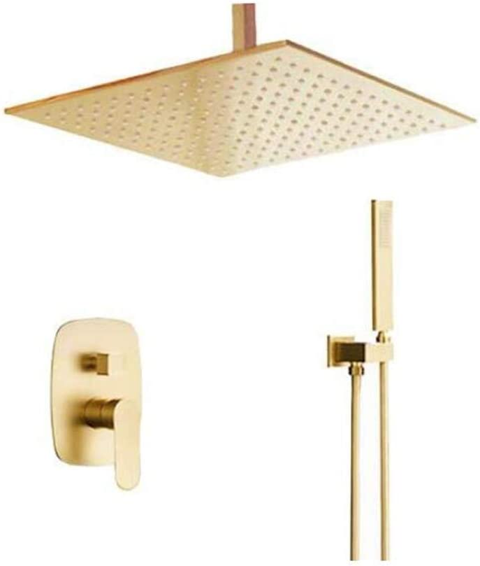 AYIVG Brushed Gold Bathroom Brass 12 Inch Ceiling Mount Rain Mixer Rainfall Shower Faucet System Combo Set