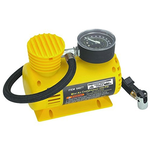 - 12V 250 PSI Compact Air Compressor; Sled-type Base Prevents Contamination From Dust and Dirt