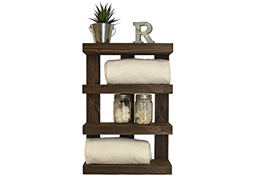 hotel towel shelf canada rack satin nickel handmade bathroom style tier storage floating bath dark walnut