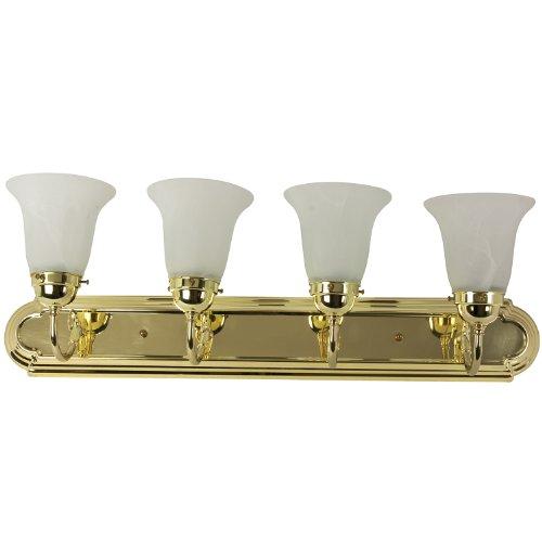 Sunlite 45460-SU B430D/PB/AL 30-Inch Vanity Decorative Sconce Fixture, Polished Brass Finish, Alabaster Glass (A19 Brass Sconce)